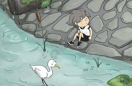 池塘边的小男孩图片