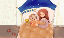 睡前读晚安故事的母女图片