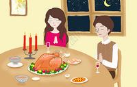 手绘感恩节插画图片