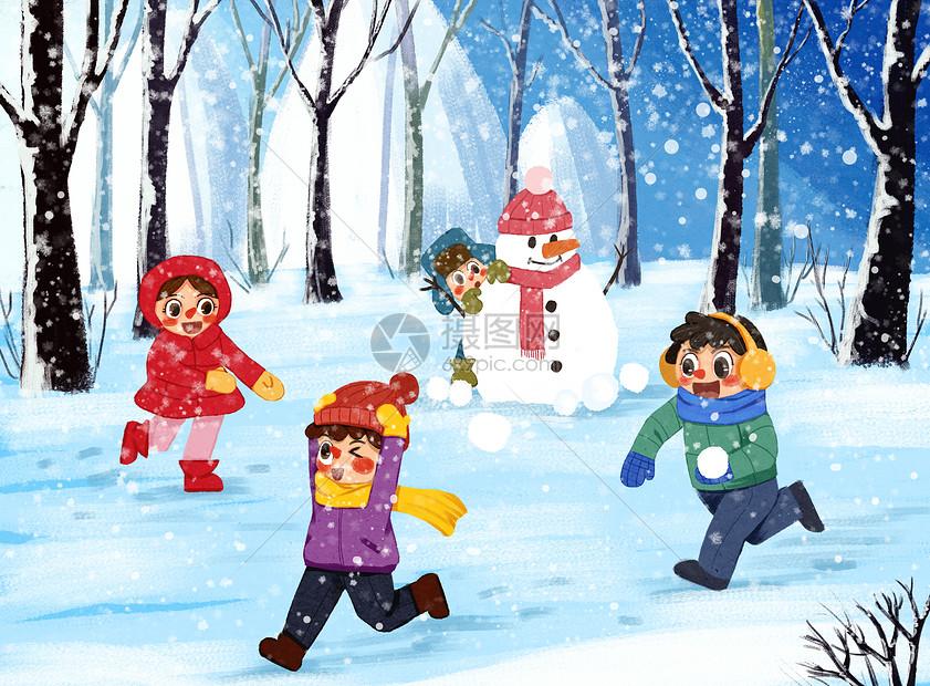 冬天打雪仗图片_冬日打雪仗插画图片下载-正版图片400073860-摄图网