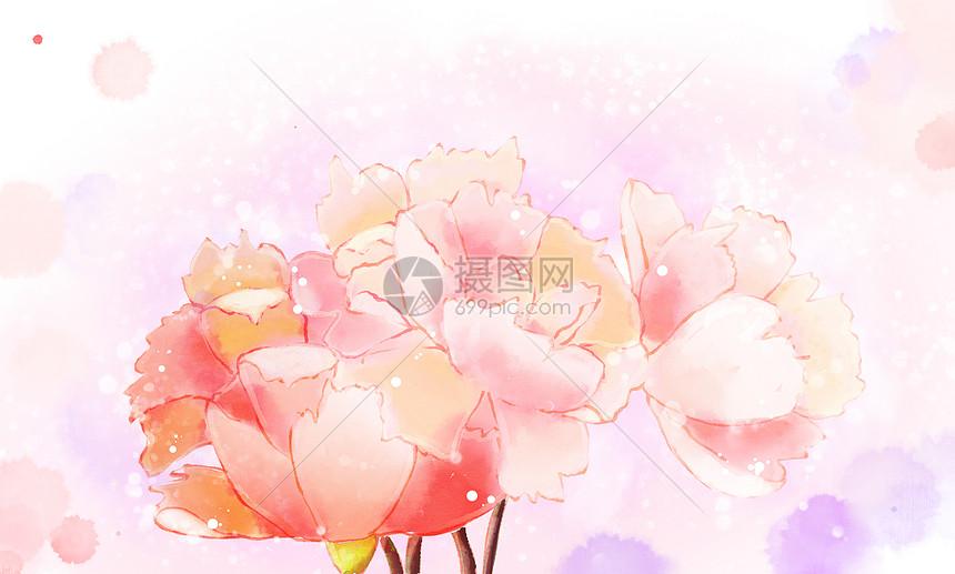 中国风水彩唯美背景素材图片