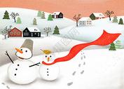冬日雪人图片