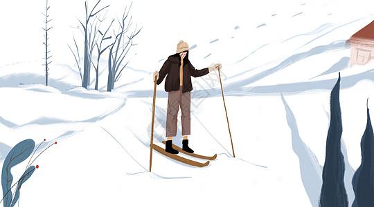 冬日滑雪少女图片