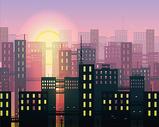 城市背景插画图片