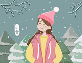 雪中的女孩图片