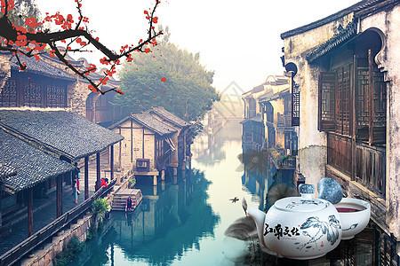 中国风江南人家意境背景图片