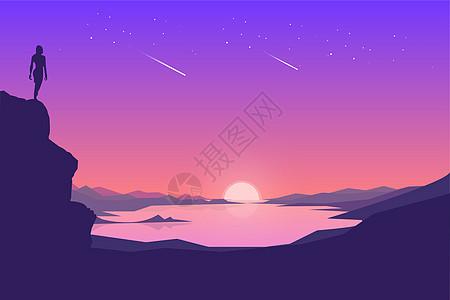 星空中的夕阳图片