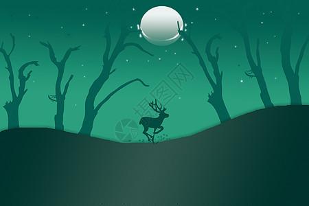 月光下奔跑的鹿图片