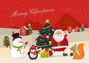 圣诞老人和可爱的动物 雪人图片
