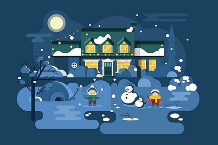 雪夜风景插画图片