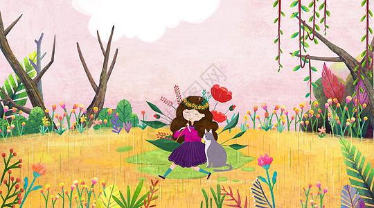 树林里的小女孩图片