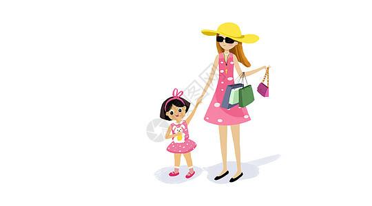 小女孩和妈妈购物图片