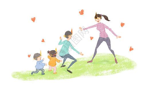 温馨亲子游戏插画图片