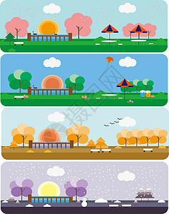 原创矢量图插画一角的四季图片
