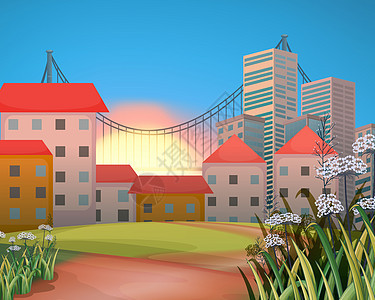 清晨 城市背景矢量插画图片