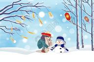 冬季祝福插画图片