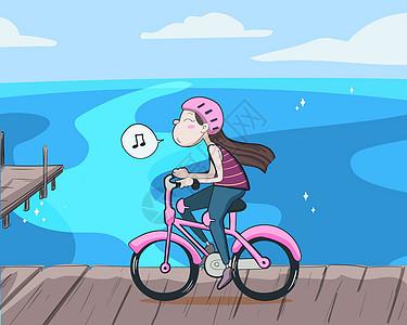 快乐女孩骑着单车去海边矢量插画图片
