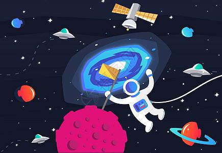 宇航员和宇宙星球矢量插画图片