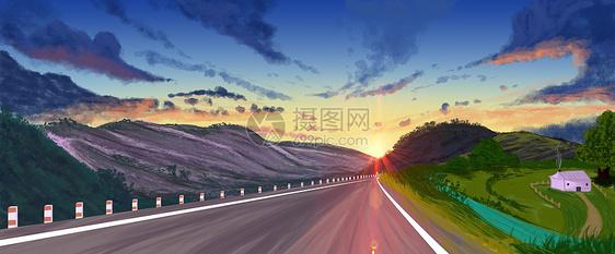 清晨日出下的自然风景插画图片