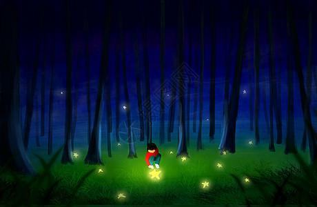 夜晚小孩玩星星图片