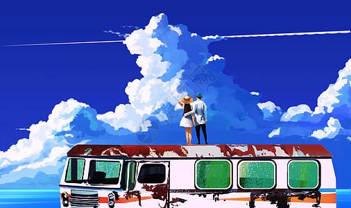 唯美天空下的情侣图片