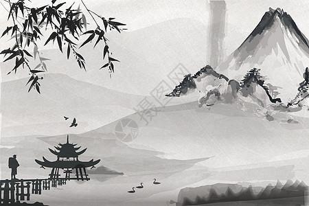 禅意水墨中国风背景图片