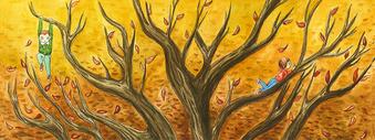 落叶插画背景图片