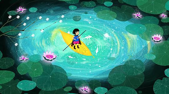 水中划船的小女孩图片