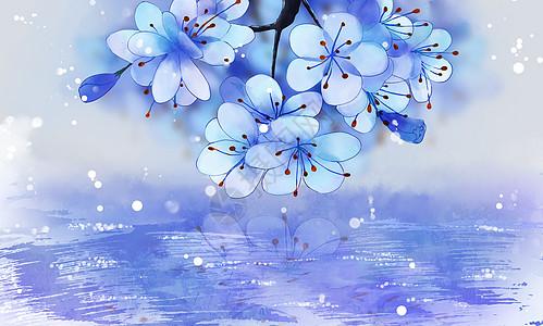 古风蓝色花唯美背景素材高清图片