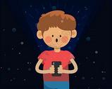 小男孩用手机上网 矢量插画图片
