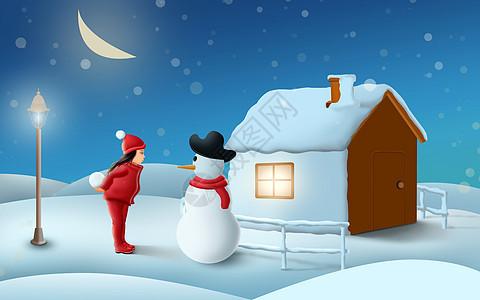 冬季的小女孩与雪人图片