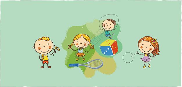 卡通儿童人物矢量插画图片