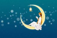 月亮看书插画图片