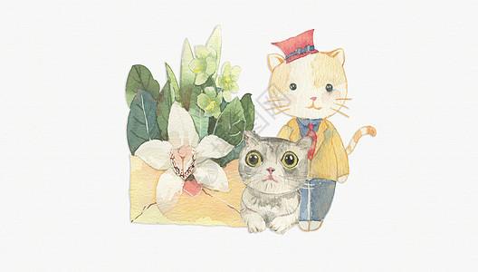 手绘水彩英国短毛猫咪图片