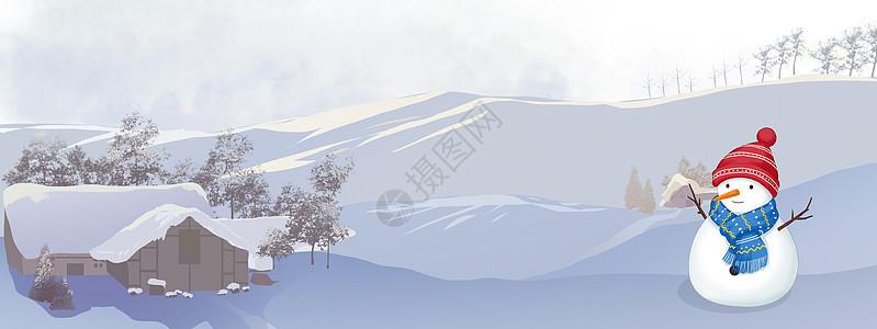 冬天雪景背景图片