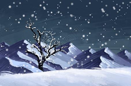 冬天雪山插画背景图片