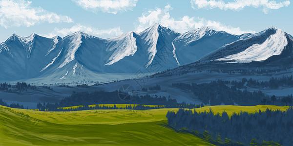 雪山下的自然风光插画图片