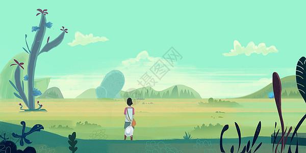 奇幻植物场景插画图片
