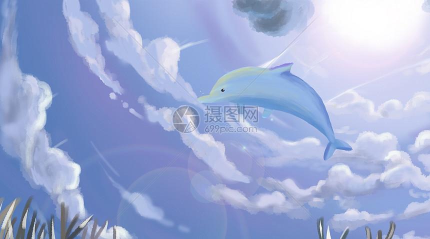 唯美图片 背景素材 蓝天鲸鱼psd