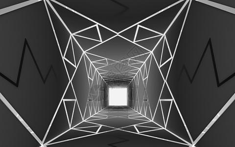 三维空间几何结构背景 黑色图片