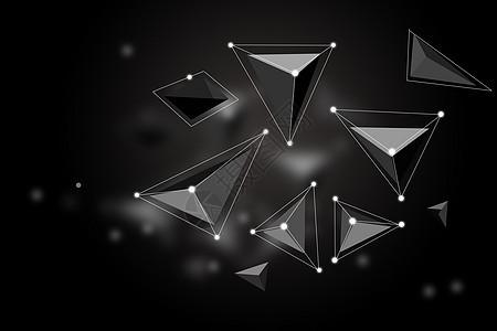 黑色立体多边形背景图片