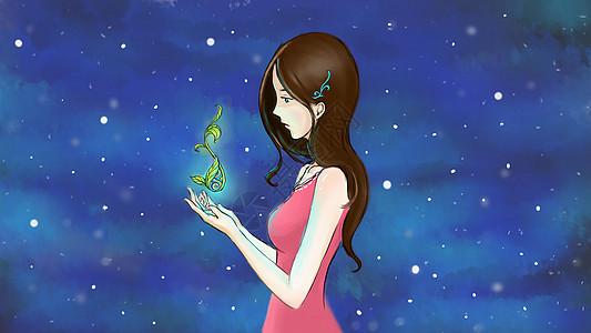 捧着种子的精灵女孩图片