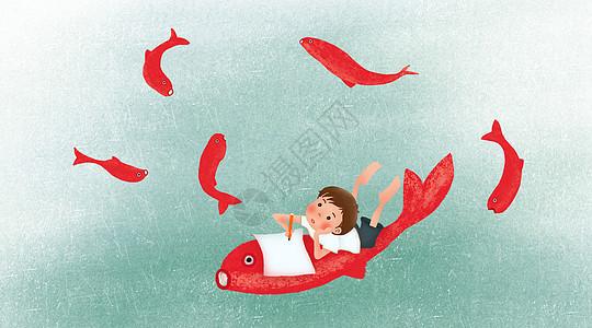 趴在鱼身上遐想的男孩图片