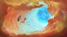 云层中的光球图片