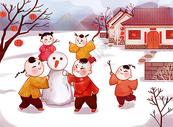 堆雪人的娃娃图片