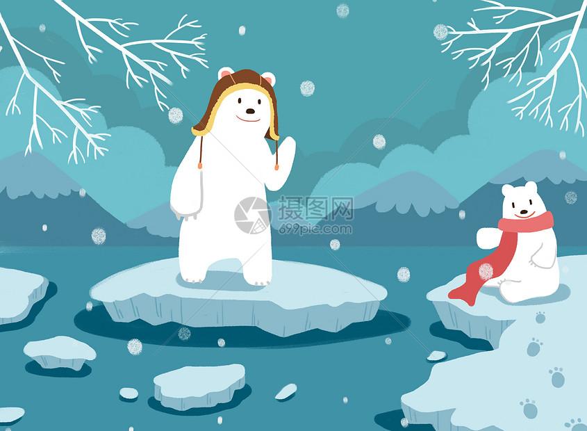 北极熊的冬天图片