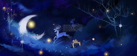 圣诞节麋鹿云层礼物插画图片
