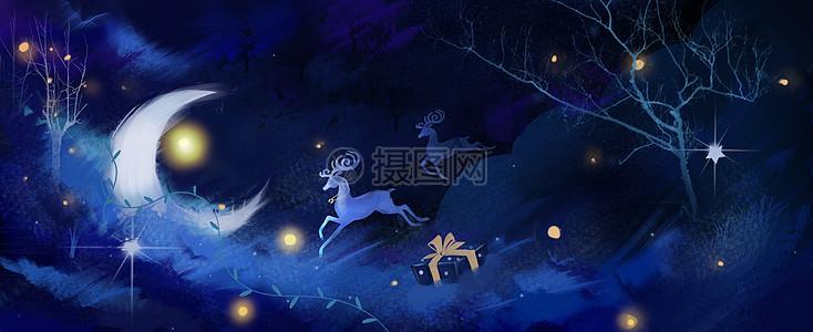 圣诞节麋鹿云层礼物插画picture