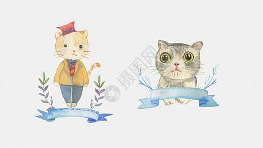 水彩小猫图片