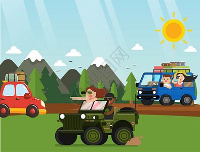 度假开车旅行矢量图插画图片